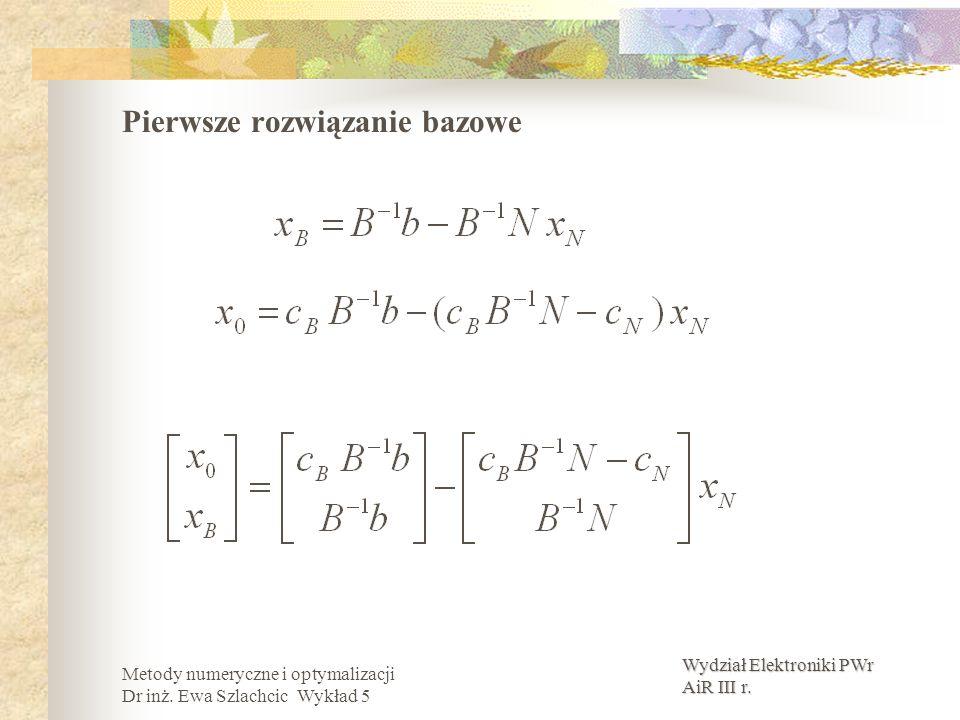 Wydział Elektroniki PWr AiR III r. Metody numeryczne i optymalizacji Dr inż. Ewa Szlachcic Wykład 5 Pierwsze rozwiązanie bazowe
