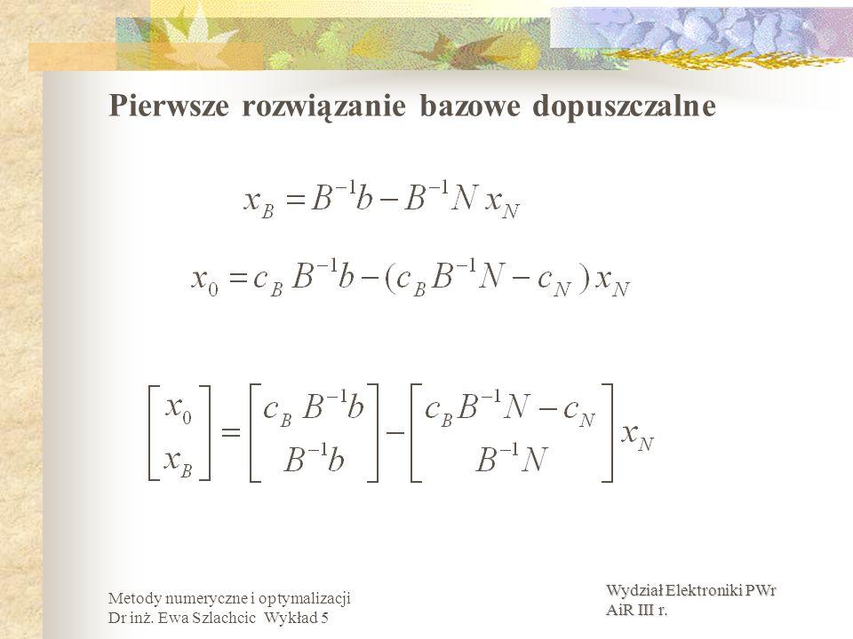 Wydział Elektroniki PWr AiR III r. Metody numeryczne i optymalizacji Dr inż. Ewa Szlachcic Wykład 5 Pierwsze rozwiązanie bazowe dopuszczalne