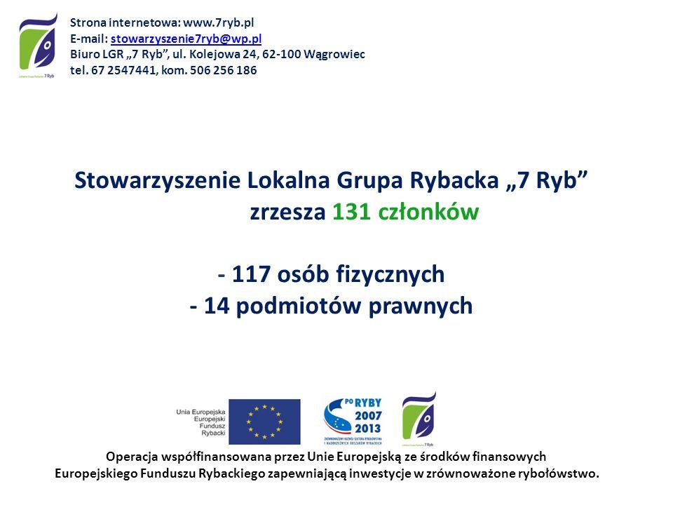 Stowarzyszenie Lokalna Grupa Rybacka 7 Ryb zrzesza 131 członków - 117 osób fizycznych - 14 podmiotów prawnych Operacja współfinansowana przez Unie Eur