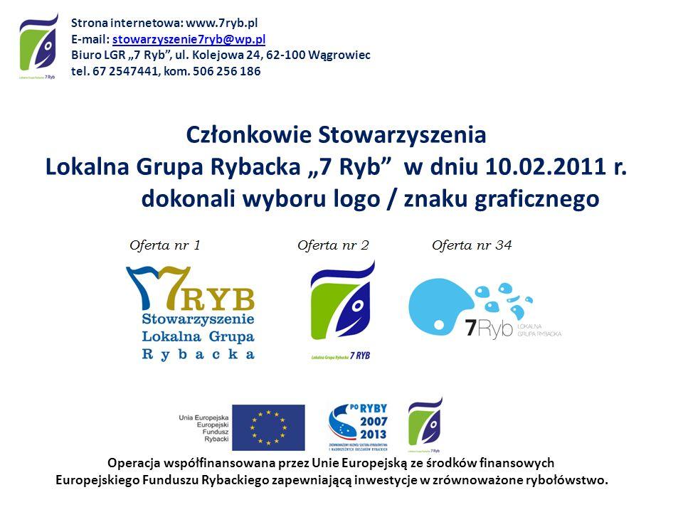 Członkowie Stowarzyszenia Lokalna Grupa Rybacka 7 Ryb w dniu 10.02.2011 r. dokonali wyboru logo / znaku graficznego Operacja współfinansowana przez Un