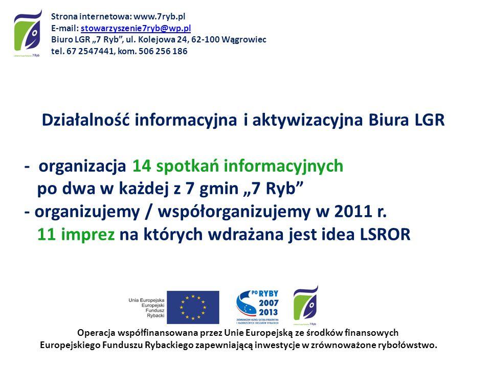 Działalność informacyjna i aktywizacyjna Biura LGR - organizacja 14 spotkań informacyjnych po dwa w każdej z 7 gmin 7 Ryb - organizujemy / współorgani