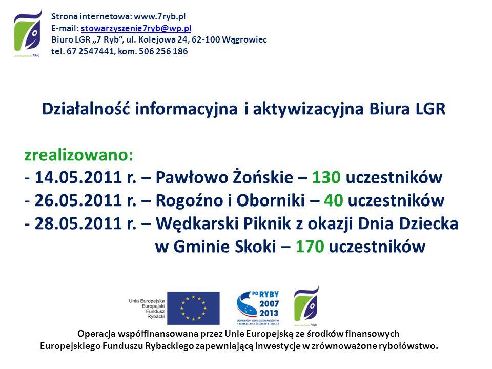 Działalność informacyjna i aktywizacyjna Biura LGR zrealizowano: - 14.05.2011 r. – Pawłowo Żońskie – 130 uczestników - 26.05.2011 r. – Rogoźno i Oborn