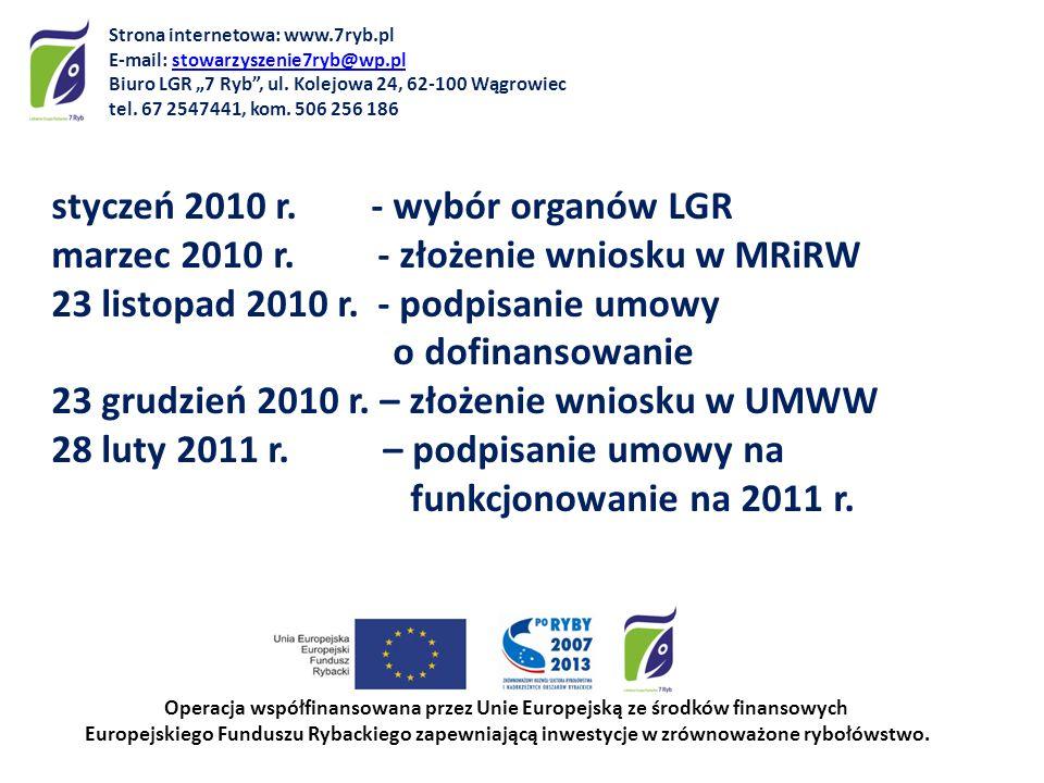 styczeń 2010 r. - wybór organów LGR marzec 2010 r. - złożenie wniosku w MRiRW 23 listopad 2010 r. - podpisanie umowy o dofinansowanie 23 grudzień 2010