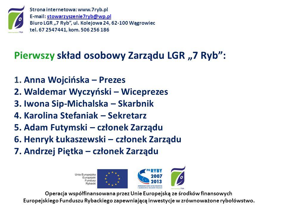 Pierwszy skład osobowy Zarządu LGR 7 Ryb: 1.Anna Wojcińska – Prezes 2.