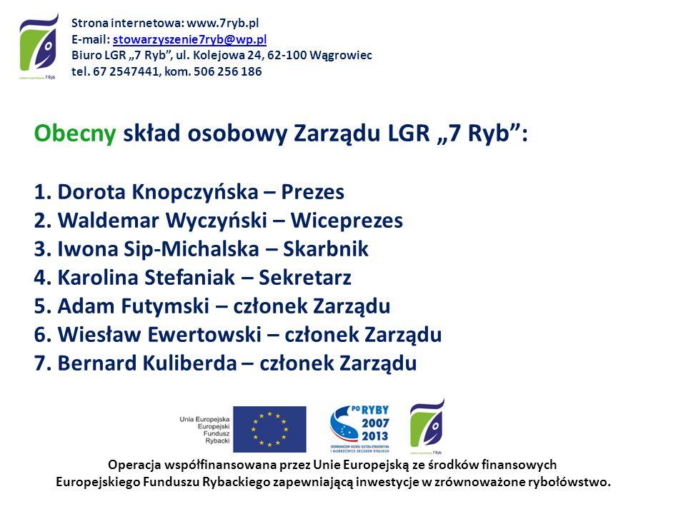 Obecny skład osobowy Zarządu LGR 7 Ryb: 1. Dorota Knopczyńska – Prezes 2. Waldemar Wyczyński – Wiceprezes 3. Iwona Sip-Michalska – Skarbnik 4. Karolin