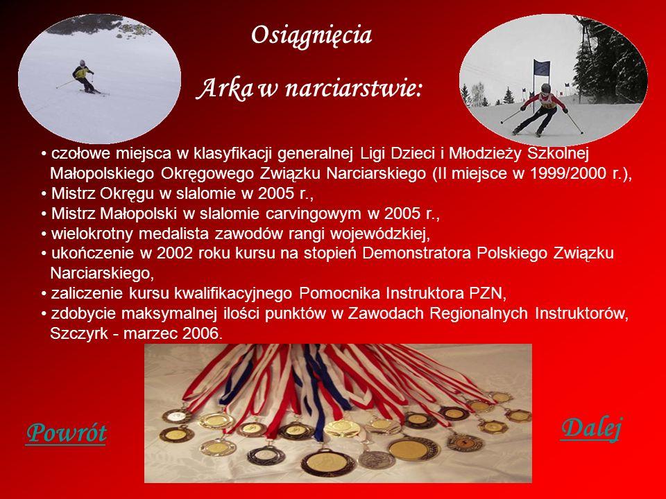Osiągnięcia Arka w pływaniu: Trzykrotny srebrny medalista Mistrzostw Polski: w 2000 r. na dystansie 50 m stylem motylkowym, w 2001 r. na dystansie 200