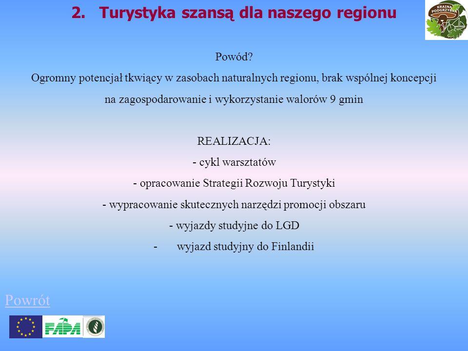 2. Turystyka szansą dla naszego regionu Powód? Ogromny potencjał tkwiący w zasobach naturalnych regionu, brak wspólnej koncepcji na zagospodarowanie i