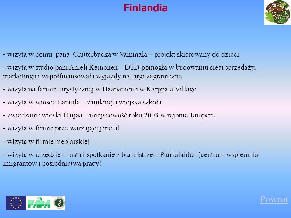 Finlandia - wizyta w domu pana Clutterbucka w Vammala – projekt skierowany do dzieci - wizyta w studio pani Anieli Keinonen – LGD pomogła w budowaniu