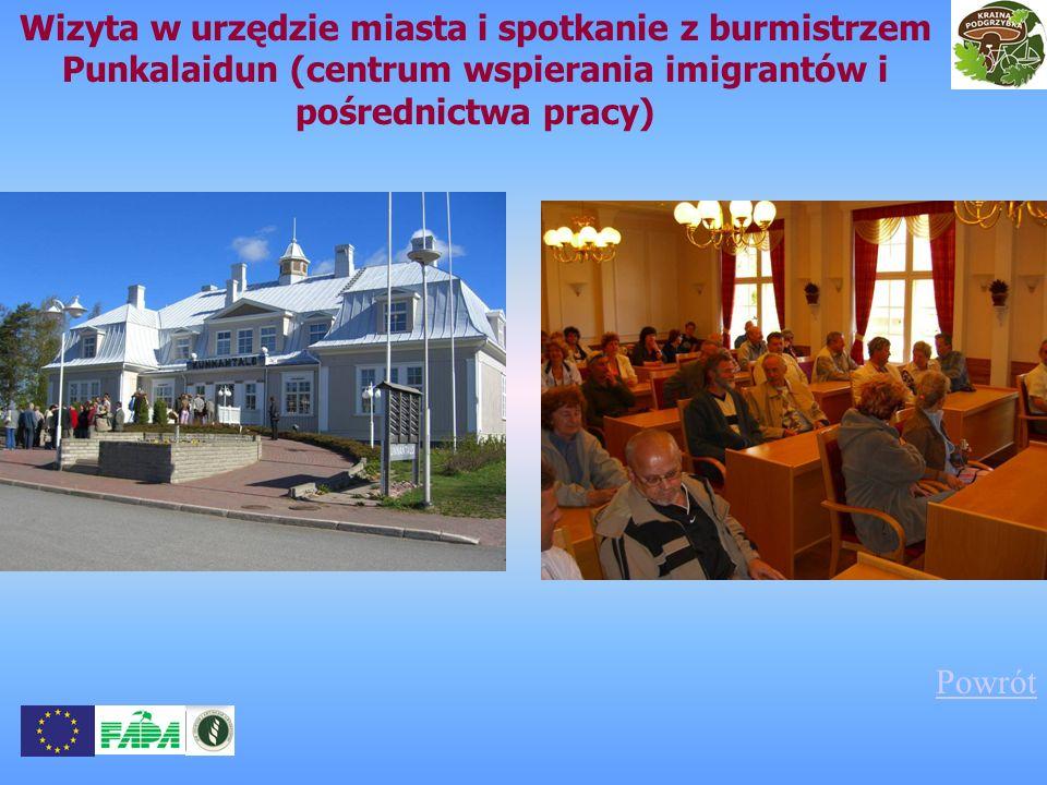 Wizyta w urzędzie miasta i spotkanie z burmistrzem Punkalaidun (centrum wspierania imigrantów i pośrednictwa pracy) Powrót