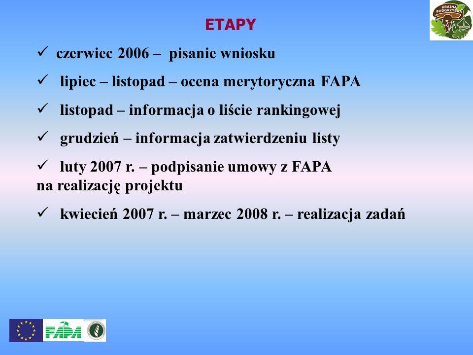 ETAPY czerwiec 2006 – pisanie wniosku lipiec – listopad – ocena merytoryczna FAPA listopad – informacja o liście rankingowej grudzień – informacja zat