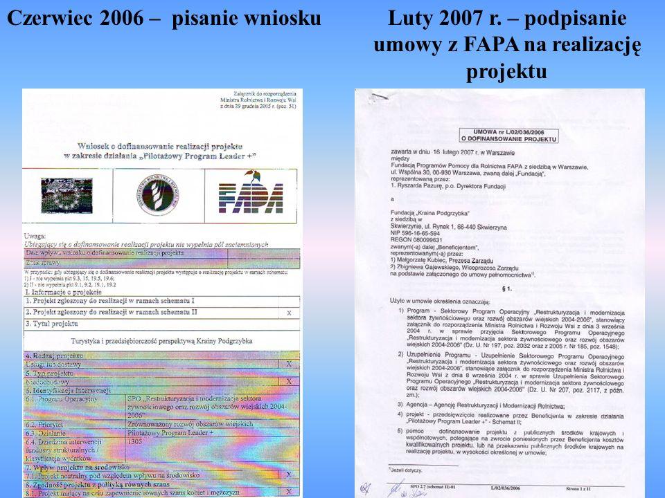 Czerwiec 2006 – pisanie wnioskuLuty 2007 r. – podpisanie umowy z FAPA na realizację projektu