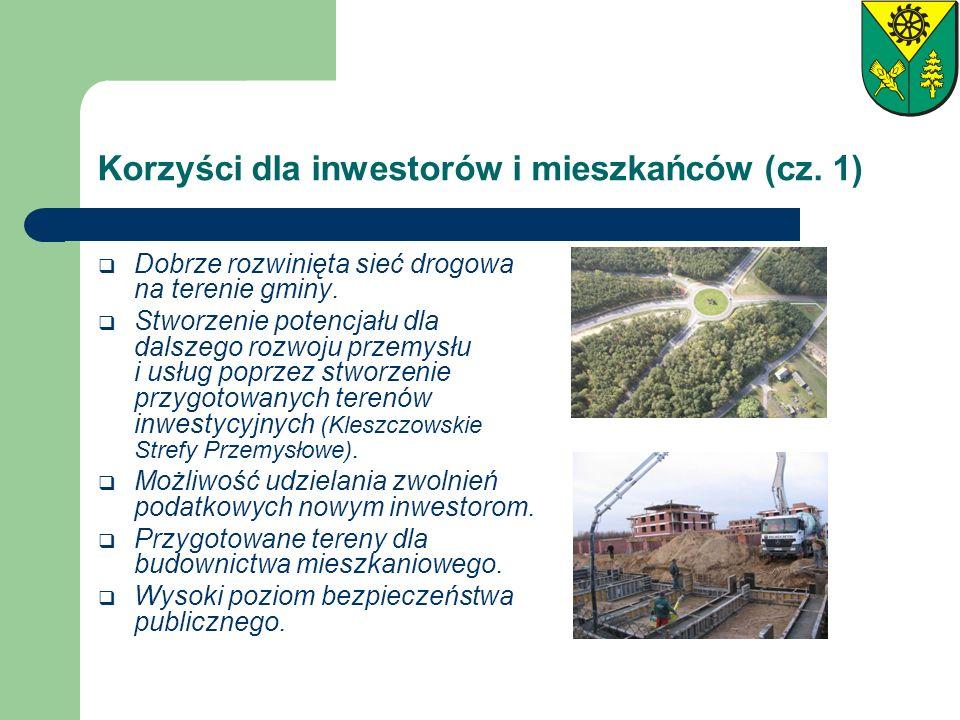 Korzyści dla inwestorów i mieszkańców (cz. 1) Dobrze rozwinięta sieć drogowa na terenie gminy. Stworzenie potencjału dla dalszego rozwoju przemysłu i