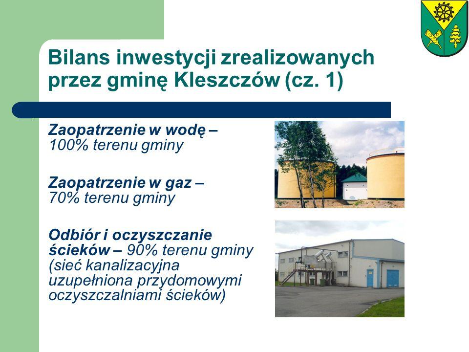 Bilans inwestycji zrealizowanych przez gminę Kleszczów (cz. 1) Zaopatrzenie w wodę – 100% terenu gminy Zaopatrzenie w gaz – 70% terenu gminy Odbiór i