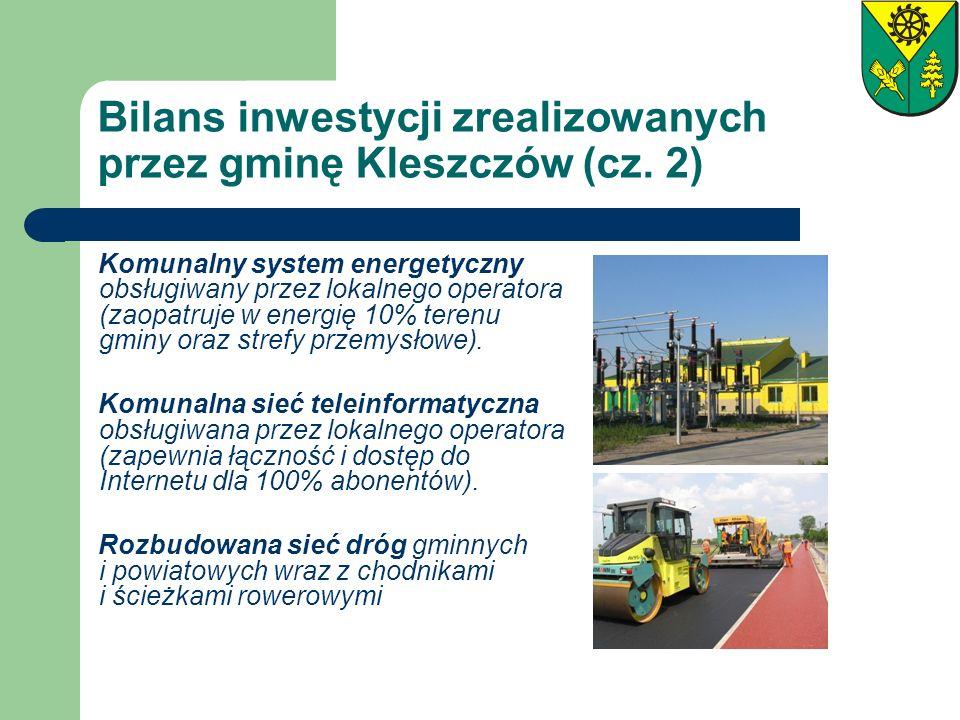 Bilans inwestycji zrealizowanych przez gminę Kleszczów (cz. 2) Komunalny system energetyczny obsługiwany przez lokalnego operatora (zaopatruje w energ