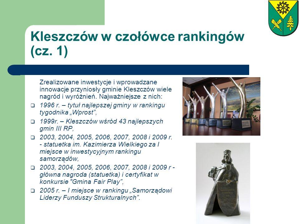 Kleszczów w czołówce rankingów (cz. 1) Zrealizowane inwestycje i wprowadzane innowacje przyniosły gminie Kleszczów wiele nagród i wyróżnień. Najważnie