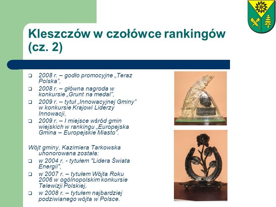Kleszczów w czołówce rankingów (cz. 2) 2008 r. – godło promocyjne Teraz Polska, 2008 r. – główna nagroda w konkursie Grunt na medal, 2009 r. – tytuł I