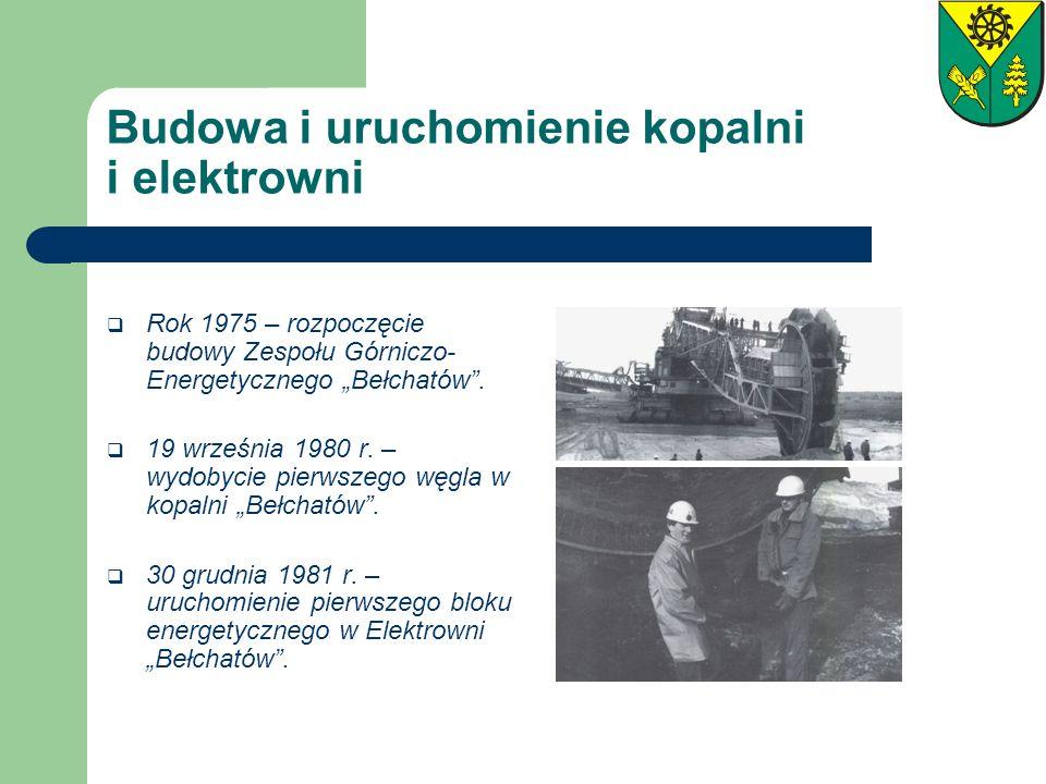 Budowa i uruchomienie kopalni i elektrowni Rok 1975 – rozpoczęcie budowy Zespołu Górniczo- Energetycznego Bełchatów. 19 września 1980 r. – wydobycie p