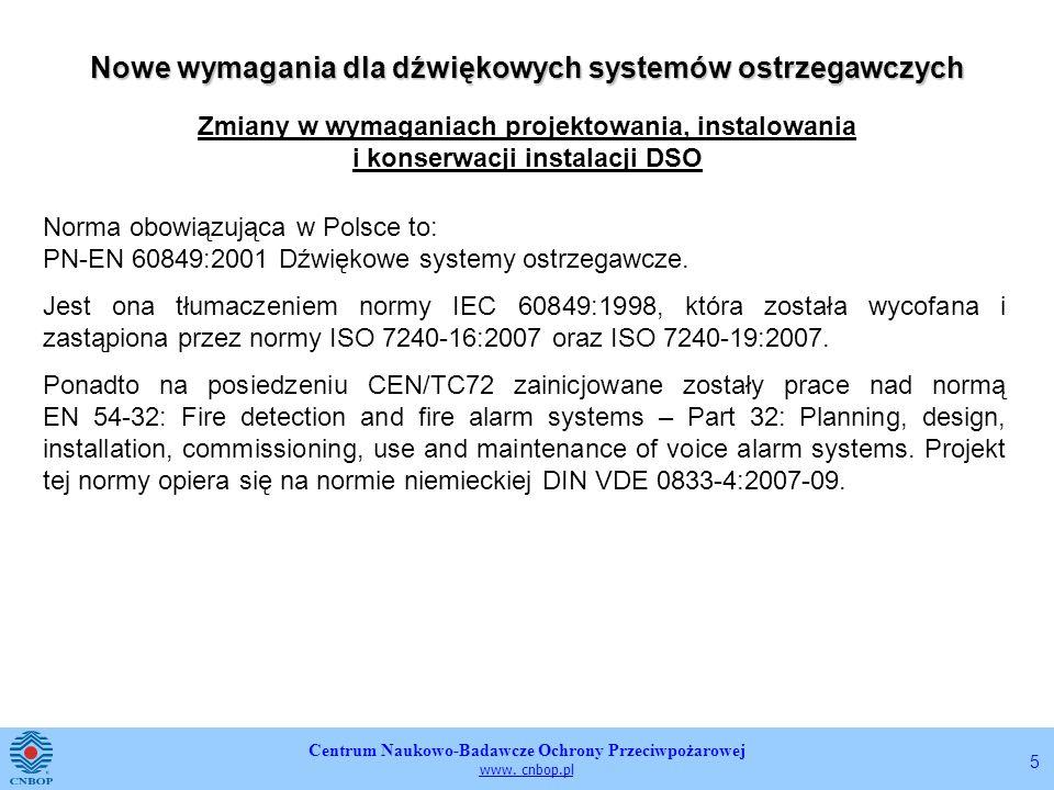 Centrum Naukowo-Badawcze Ochrony Przeciwpożarowej www. cnbop.pl 5 Nowe wymagania dla dźwiękowych systemów ostrzegawczych Zmiany w wymaganiach projekto