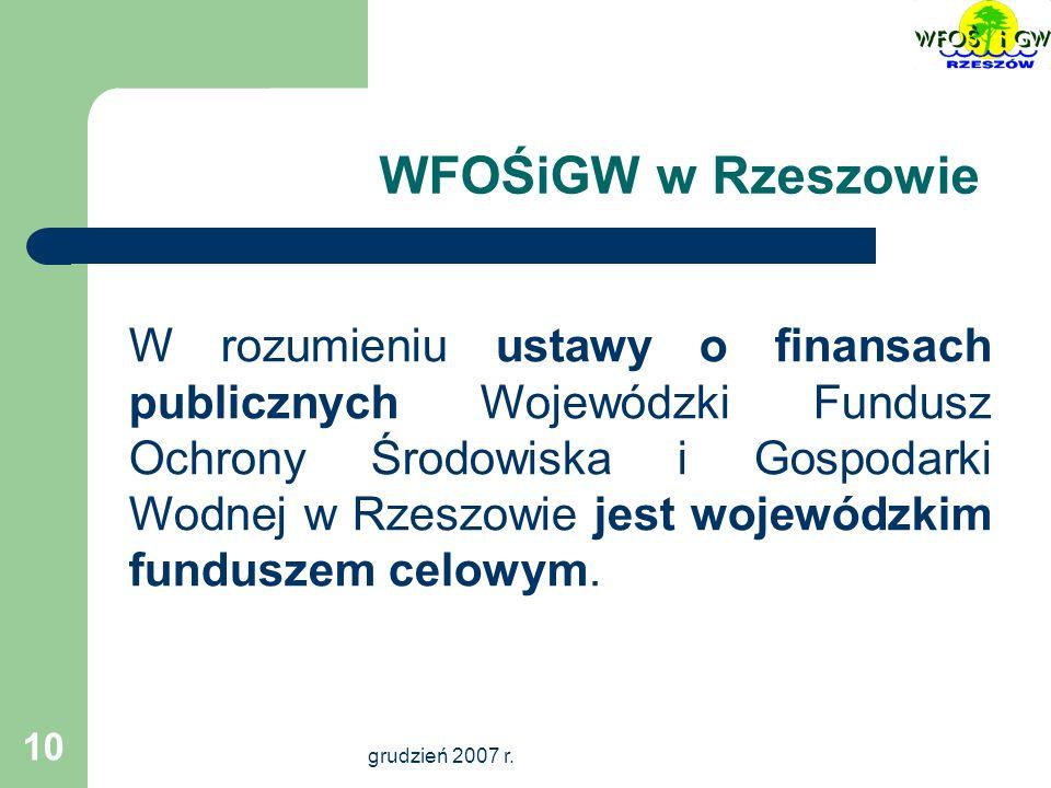 grudzień 2007 r.11 Cel Funduszu Dofinansowanie zadań przynoszących wymierne efekty ekologiczne.