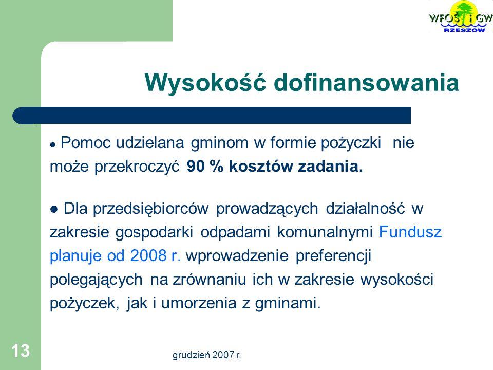 grudzień 2007 r.14 Warunki dofinansowania 1.