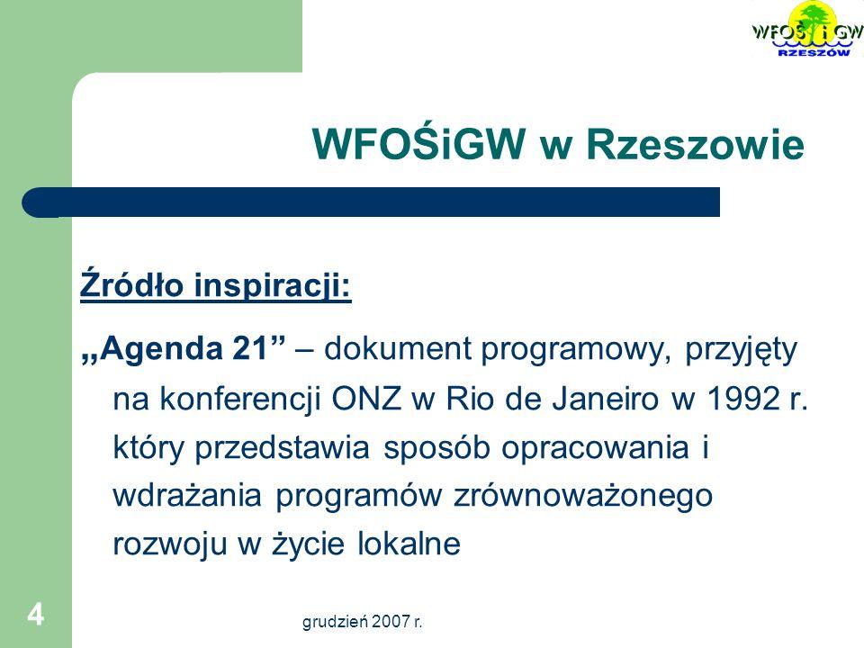 grudzień 2007 r.5 WFOŚiGW w Rzeszowie Źródło prawa: Konstytucja Rzeczypospolitej Polskiej : art.