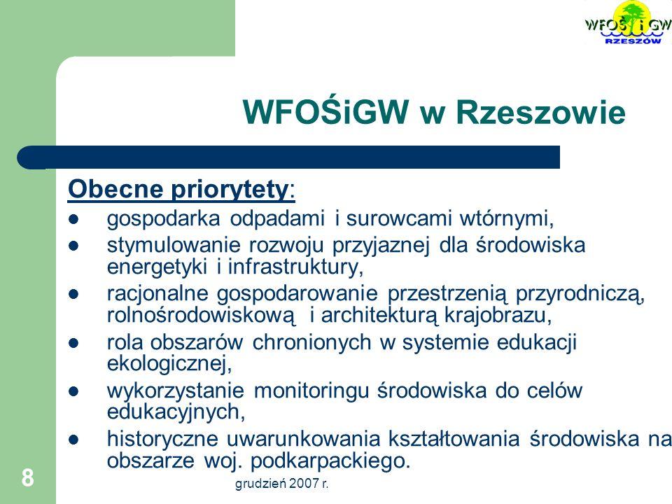 Możliwości finansowania ze środków WFOŚiGW w Rzeszowie zadań związanych z gospodarką odpadami Świlcza, 10-11 grudnia 2007 r.