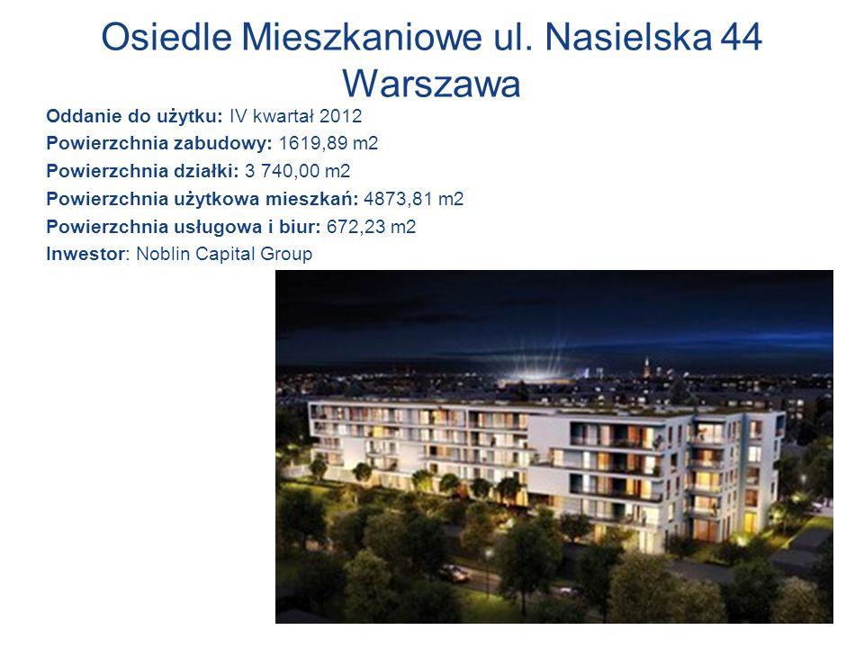 Osiedle Mieszkaniowe ul. Nasielska 44 Warszawa Oddanie do użytku: IV kwartał 2012 Powierzchnia zabudowy: 1619,89 m2 Powierzchnia działki: 3 740,00 m2