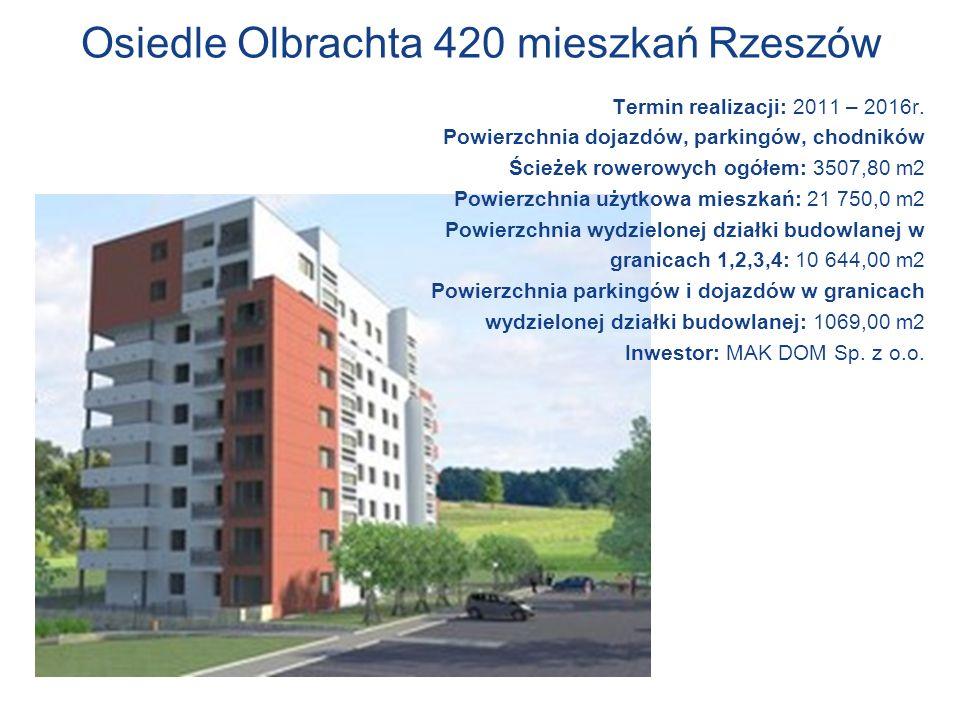 Osiedle Olbrachta 420 mieszkań Rzeszów Termin realizacji: 2011 – 2016r. Powierzchnia dojazdów, parkingów, chodników Ścieżek rowerowych ogółem: 3507,80