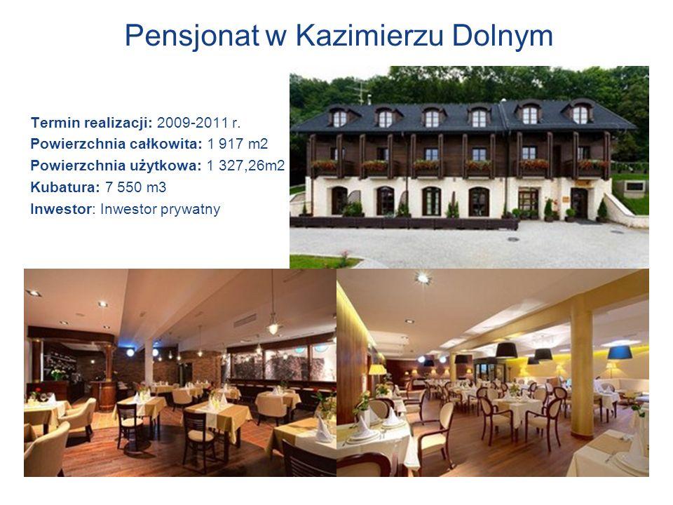 Pensjonat w Kazimierzu Dolnym Termin realizacji: 2009-2011 r. Powierzchnia całkowita: 1 917 m2 Powierzchnia użytkowa: 1 327,26m2 Kubatura: 7 550 m3 In