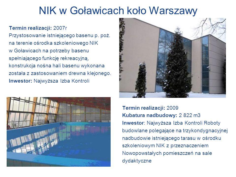 NIK w Goławicach koło Warszawy Termin realizacji: 2007r Przystosowanie istniejącego basenu p. poż. na terenie ośrodka szkoleniowego NIK w Goławicach n