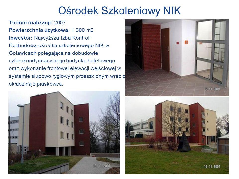 Ośrodek Szkoleniowy NIK Termin realizacji: 2007 Powierzchnia użytkowa: 1 300 m2 Inwestor: Najwyższa Izba Kontroli Rozbudowa ośrodka szkoleniowego NIK