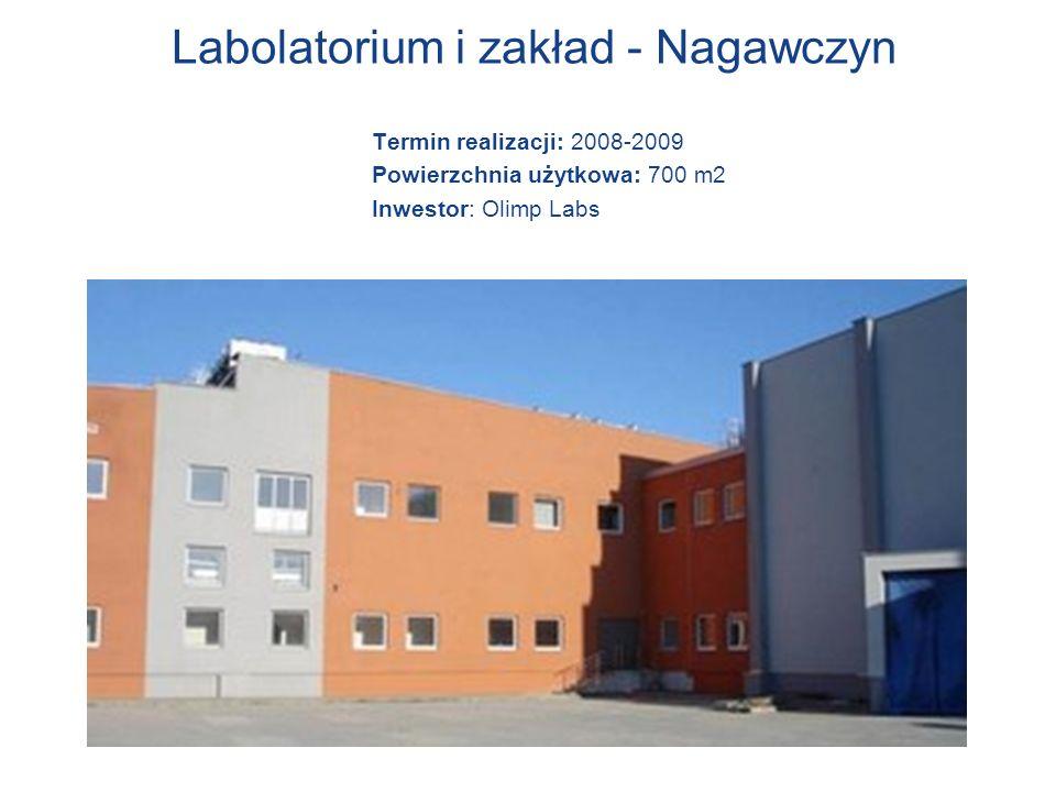 Labolatorium i zakład - Nagawczyn Termin realizacji: 2008-2009 Powierzchnia użytkowa: 700 m2 Inwestor: Olimp Labs