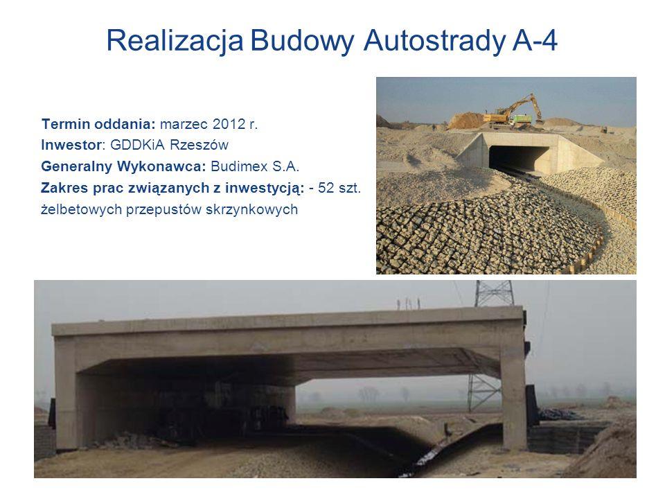 Realizacja Budowy Autostrady A-4 Termin oddania: marzec 2012 r. Inwestor: GDDKiA Rzeszów Generalny Wykonawca: Budimex S.A. Zakres prac związanych z in