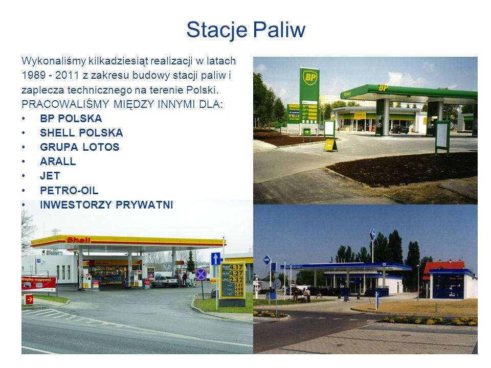 Stacje Paliw Wykonaliśmy kilkadziesiąt realizacji w latach 1989 - 2011 z zakresu budowy stacji paliw i zaplecza technicznego na terenie Polski. PRACOW
