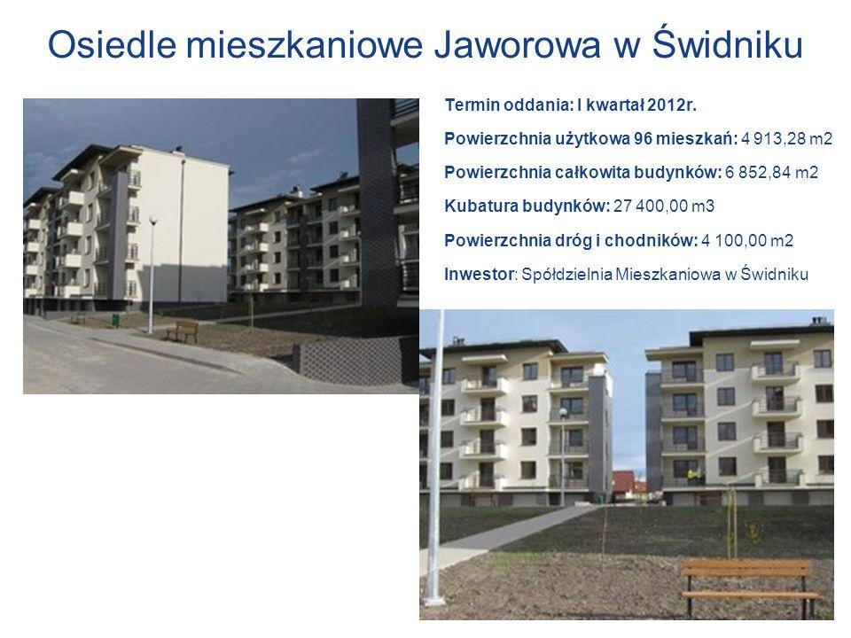 Osiedle mieszkaniowe Jaworowa w Świdniku Termin oddania: I kwartał 2012r. Powierzchnia użytkowa 96 mieszkań: 4 913,28 m2 Powierzchnia całkowita budynk