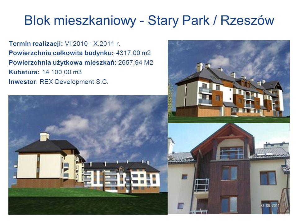 Blok mieszkaniowy - Stary Park / Rzeszów Termin realizacji: VI.2010 - X.2011 r. Powierzchnia całkowita budynku: 4317,00 m2 Powierzchnia użytkowa miesz