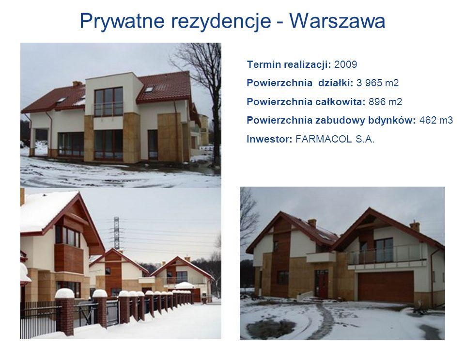 Prywatne rezydencje - Warszawa Termin realizacji: 2009 Powierzchnia działki: 3 965 m2 Powierzchnia całkowita: 896 m2 Powierzchnia zabudowy bdynków: 46