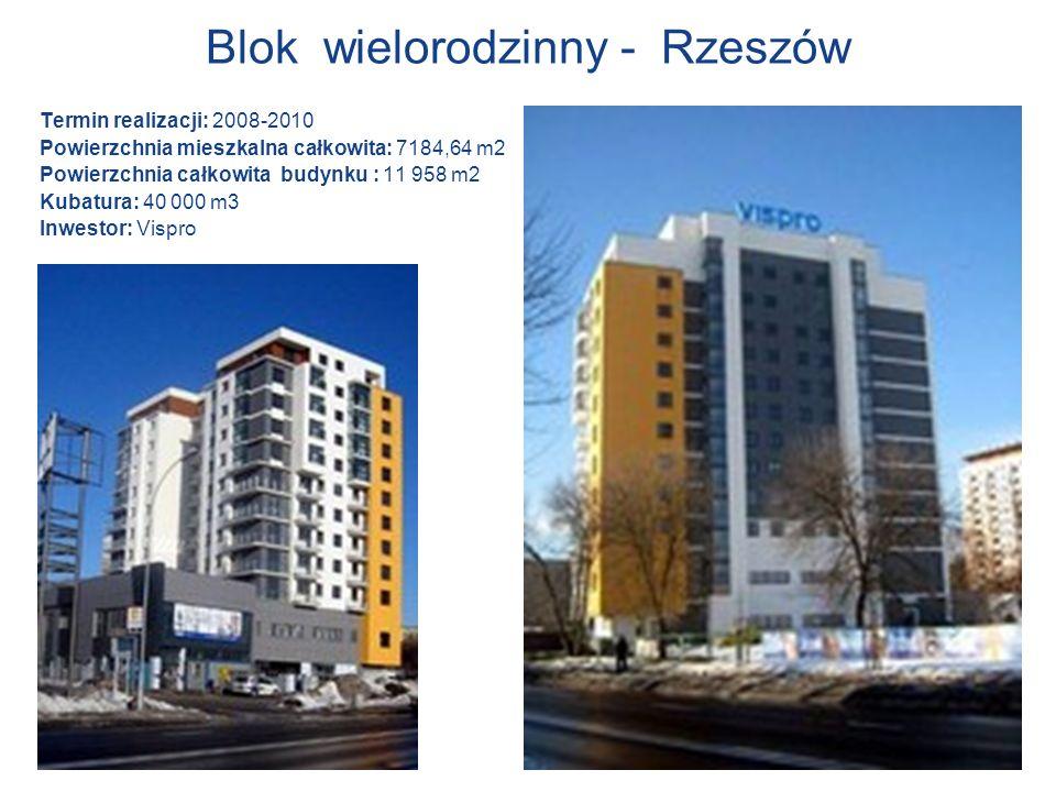 Blok wielorodzinny - Rzeszów Termin realizacji: 2008-2010 Powierzchnia mieszkalna całkowita: 7184,64 m2 Powierzchnia całkowita budynku : 11 958 m2 Kub