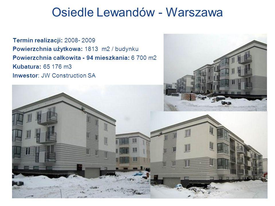 Osiedle Lewandów - Warszawa Termin realizacji: 2008- 2009 Powierzchnia użytkowa: 1813 m2 / budynku Powierzchnia całkowita - 94 mieszkania: 6 700 m2 Ku