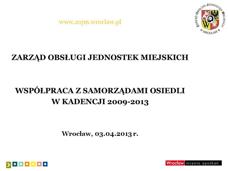 www.zojm.wroclaw.pl ZARZĄD OBSŁUGI JEDNOSTEK MIEJSKICH WSPÓŁPRACA Z SAMORZĄDAMI OSIEDLI W KADENCJI 2009-2013 Wrocław, 03.04.2013 r.