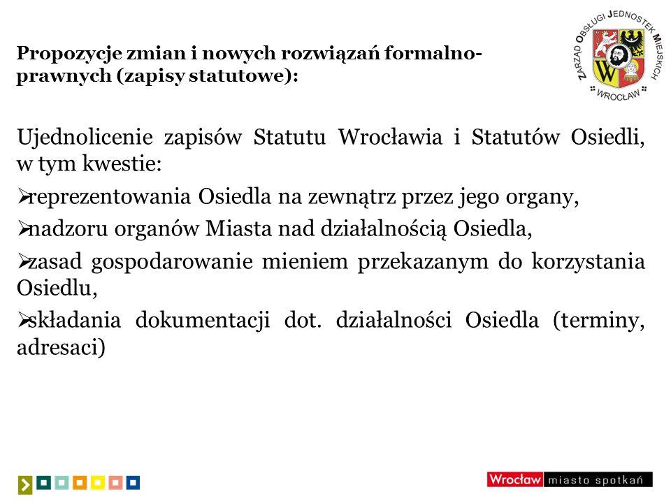 Propozycje zmian i nowych rozwiązań formalno- prawnych (zapisy statutowe): Ujednolicenie zapisów Statutu Wrocławia i Statutów Osiedli, w tym kwestie: