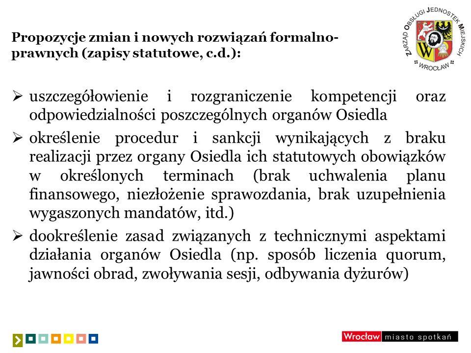 Propozycje zmian i nowych rozwiązań formalno- prawnych (zapisy statutowe, c.d.): uszczegółowienie i rozgraniczenie kompetencji oraz odpowiedzialności