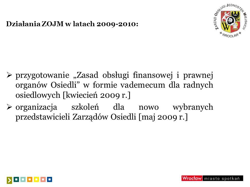Działania ZOJM w latach 2009-2010: przygotowanie Zasad obsługi finansowej i prawnej organów Osiedli w formie vademecum dla radnych osiedlowych [kwieci