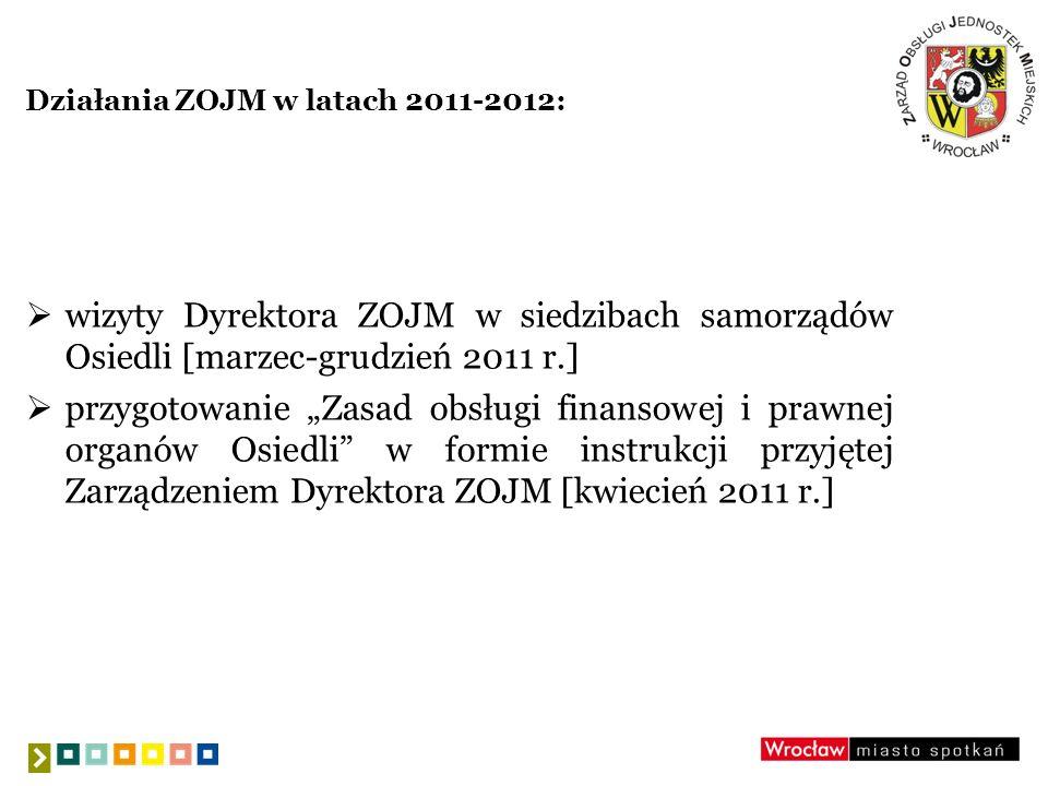 Działania ZOJM w latach 2011-2012 (c.d.): uruchomienie ujednoliconych kont pocztowych dla Osiedli w domenie osiedle.wroc.pl [wrzesień 2011 r.] przeprowadzenie szkoleń dla przedstawicieli Zarządów Osiedli [listopad 2011 r.]