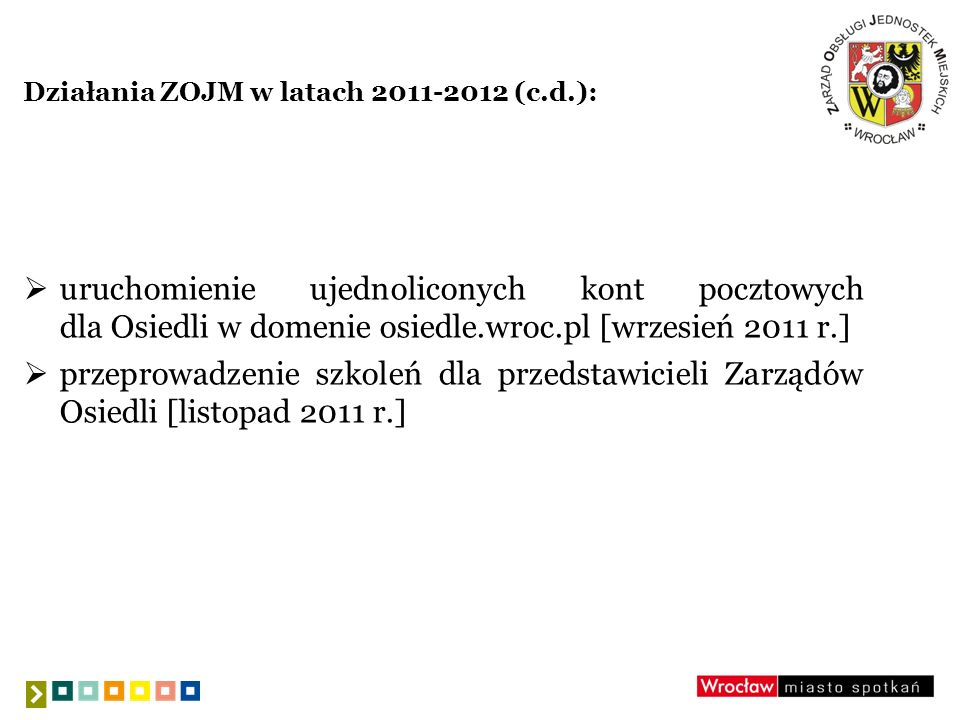 Działania ZOJM w latach 2011-2012 (c.d.): uruchomienie ujednoliconych kont pocztowych dla Osiedli w domenie osiedle.wroc.pl [wrzesień 2011 r.] przepro