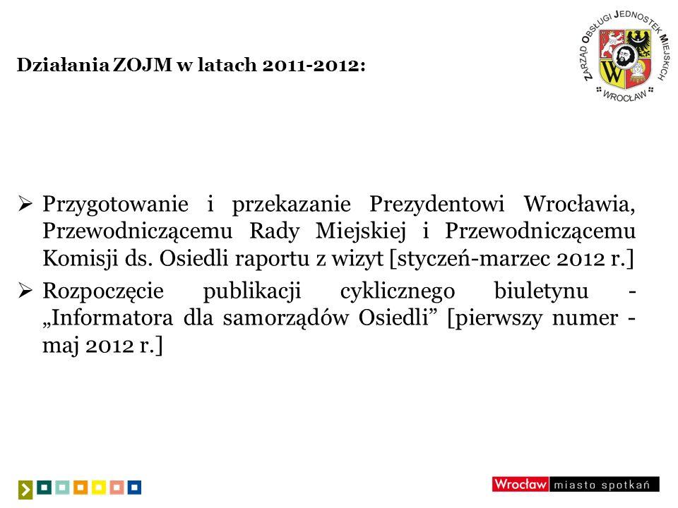 Plany ZOJM na 2013 r.: nowelizacja Zasad obsługi finansowej i prawnej organów Osiedli [kwiecień 2013 r.] organizacja szkoleń dla nowo wybranych przedstawicieli Zarządów Osiedli [wrzesień 2013 r.] uruchomienie aplikacji Budżety online dla samorządów Osiedli