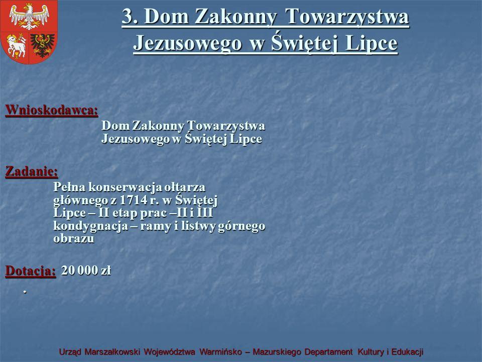 Urząd Marszałkowski Województwa Warmińsko – Mazurskiego Departament Kultury i Edukacji 3. Dom Zakonny Towarzystwa Jezusowego w Świętej Lipce Wnioskoda