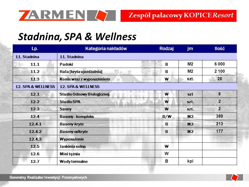Zespół pałacowy KOPICE Resort Generalny Realizator Inwestycji Przemysłowych Stadnina, SPA & Wellness Lp.Kategoria nakładówRodzajjmIlość 11. Stadnina 1