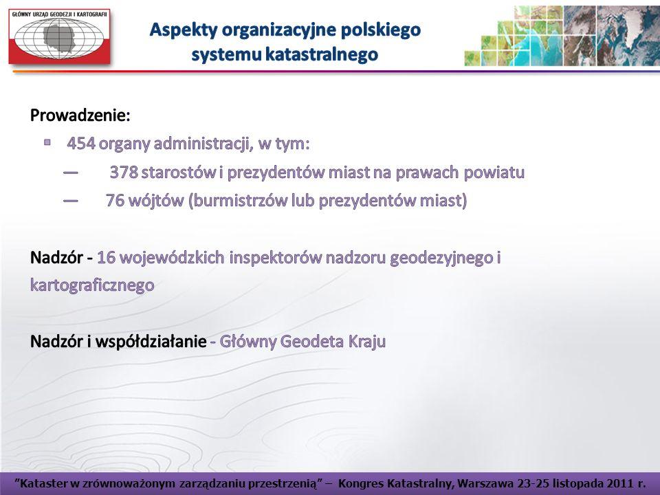 Kataster Polski jako element INSPIRE - Główny Urząd Geodezji i Kartografii, Warszawa, dnia 4 lipca 2011 r. Kataster w zrównoważonym zarządzaniu przest