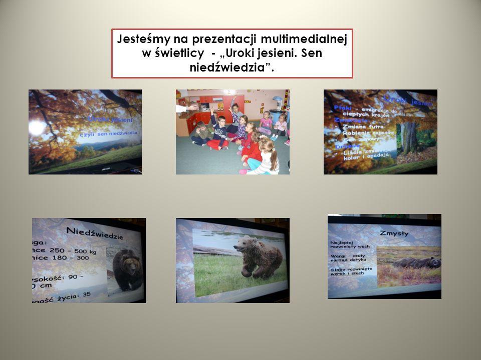 Jesteśmy na prezentacji multimedialnej w świetlicy - Uroki jesieni. Sen niedźwiedzia.